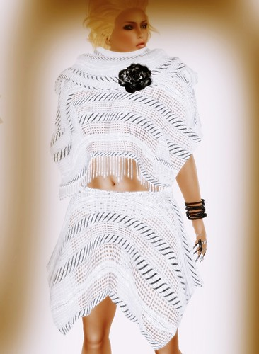 [Coming Soon] A&A Fashion Poncho Skirt Set White Black