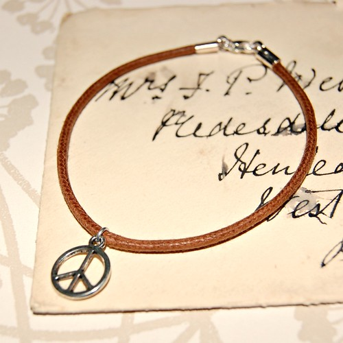 Peace Leather Charm Bracelet by gracefaceboutique