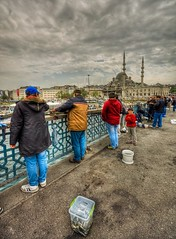 Galata Bridge, Istanbul (Nejdet Duzen) Tags: city trip travel fish turkey trkiye istanbul mosque fisher camii galatabridge turkei yenicamii seyahat galatakprs balk balk ehir saariysqualitypictures mygearandme