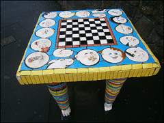 Street art in Onehunga, chess table