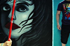 Color me crazy IV (georgekamelakis) Tags: street boy red woman color face wall graffiti comic hand tshirt greece crete kesan georgekamelakis