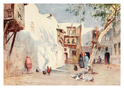 022-Un patio en el barrio Hanafieh del Cairo-Below the cataracts (1907)- Walter Tyndale