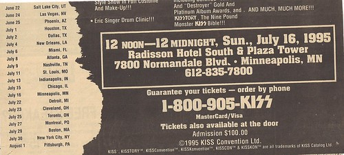 07-16-95 Kiss Convention @ Bloomington, MN (Large Ad - Bottom)