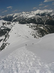 Looking down the final slopes from just below the top