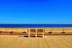 Silent Blue (Moniza*) Tags: ocean blue sea sky seascape beach nature clouds landscape newjersey sand nikon nj shore jersey jerseyshore longbranch d90 moniza