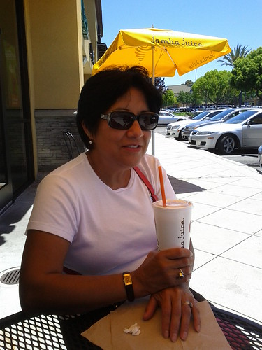 mom enjoying jamba juice