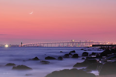 m a r i n a (Lee Sie) Tags: ocean city bridge sunset sea sky orange moon beach water lights bay coast twilight rocks cityscape purple sandiego coronado chulavista pfa