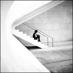 Kept waiting (B.e.l.i.v.o) Tags: shadow blackandwhite bw woman white black monochrome stairs square stand back still arquitectura waiting sitting shadows time expression side curves perspective simplicity serenity sit figure only stare feeling curve arquitecture whiteness figura serenidad greatphotographers flickraward flickraward5 flickrawardgallery