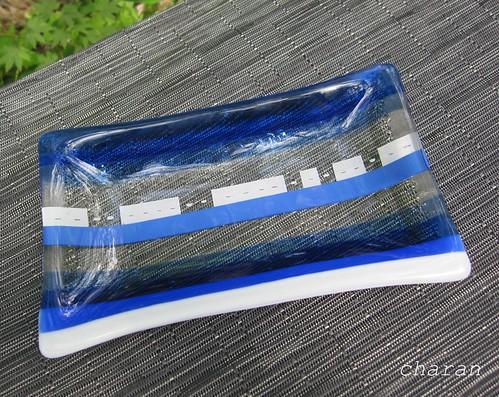 青いストライプのお皿②ペイント by Poran111