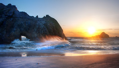 Big Sur Sunset (Stuck in Customs) Tags: world ocean california travel sunset sea panorama usa sun mountain west beach nature set digital america photography coast blog video high sand rocks colorful surf dynamic stuck natural pacific wind cove pirates sandy united horizon country north scenic bigsur rocky peak foam pastels processing april destination imaging cave states region crags range hdr tutorial trey travelblog customs mountainous 2011 ratcliff hdrtutorial stuckincustoms treyratcliff stuckincustomscom nikond3x soetop50spotsfordaydreamers