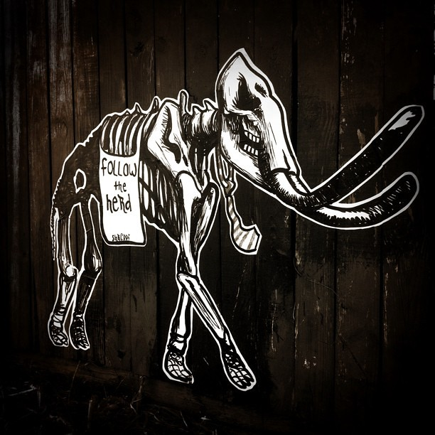 follow the herd #shreddi #houstreetart #wheatpaste #mammoth