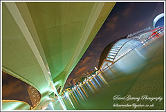 Valencia City of Arts and Sciences (david gutierrez [ www.davidgutierrez.co.uk ]) Tags: city bridge summer urban cinema reflection building glass valencia museum architecture night river concrete lights spain mediterranean cityscape contemporary perspective arts culture science architect sciences imax santiagocalatrava moderndesign wow1 wow2 wow3 wow4 cityofartsandsciences wow5 platinumheartaward