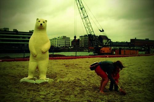 droevige ijsbeer.