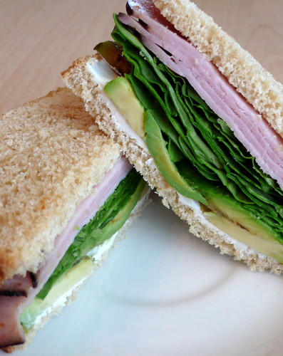 Ham and Avocado Sandwich with Cream Cheese and Arugula