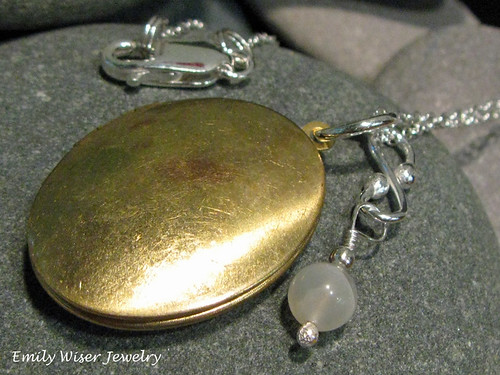 Brass Locket & Moonstone Necklace by EmilyWiserJewelry2011