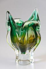 Sklo Union Chribska Glassworks 'Cats Head' Vase by Josef Hospodka circa 1970′s (afterglowretro) Tags: cats glass czech head union josef vase 1970s glassworks bohemian sklo chribska hospodka