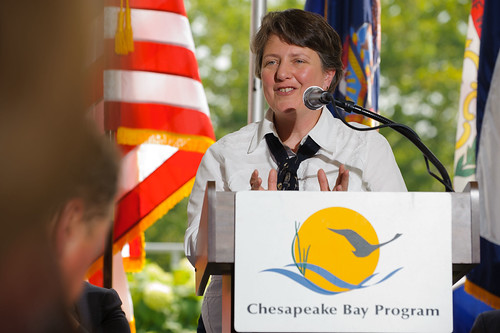 Deputy Secretary of Agriculture Kathleen Merrigan addresses the Chesapeake Bay Executive Council and members of the press.