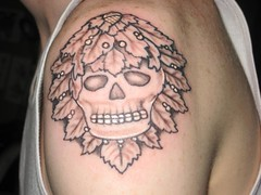 Green kinda skull (LauraBeeBennett) Tags: tattoo tattoos skulltattoo napavalleycalifornia winecountrytattoo flyingcolorstattoo napavalleytattoo