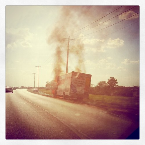 "To continue our ""drive of fire,"" there is a Uhaul on fire just down the road on Trinity. What else are we going to see on our way to Abilene?"