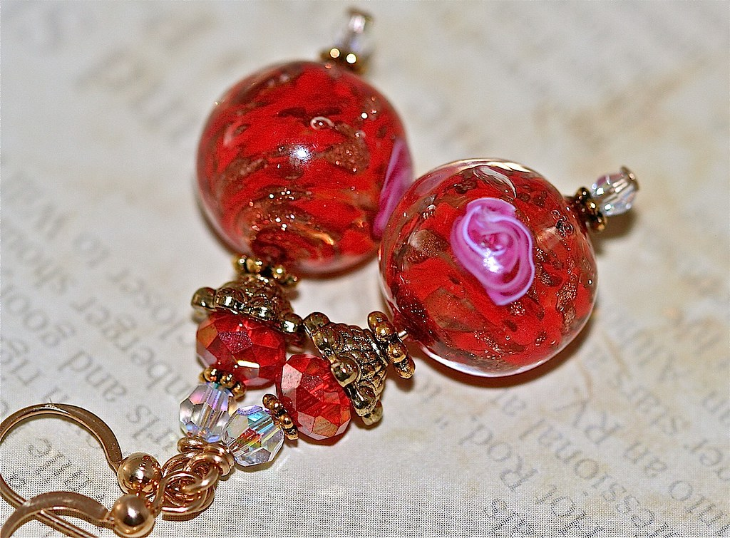 Red Roses Lampwork Gold Earrings