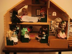 Petites in their little house miniscule cottage!