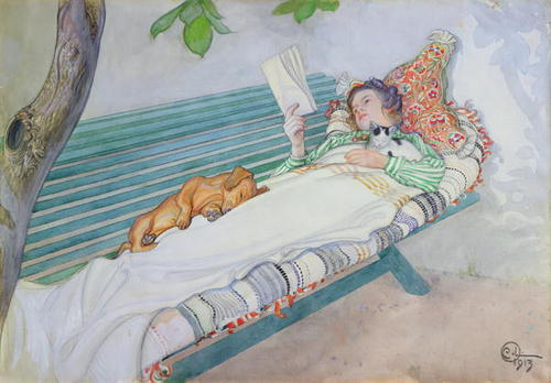 Carl Larsson, Woman Lying On A Bench, 1913