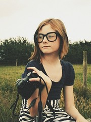 51/365 (and the bird took flight...) Tags: camera slr film girl glasses ginger big shoot fuji dress photoshoot geek sister walk hannah young fujifilm 51 365 nautical picnik younger stripy filmgrain project365
