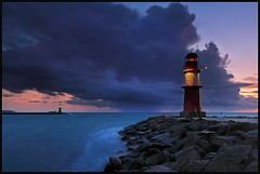 Baltic Moon (Sandra OTR) Tags: sky moon lighthouse storm color rain clouds germany warnemnde rocks urlaub balticsea mole ostsee wetter