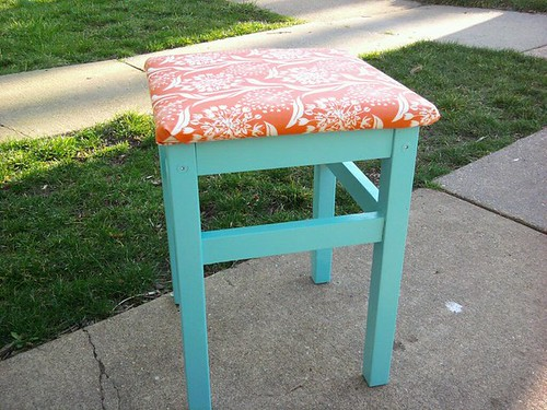 painted and upholstered ikea stool