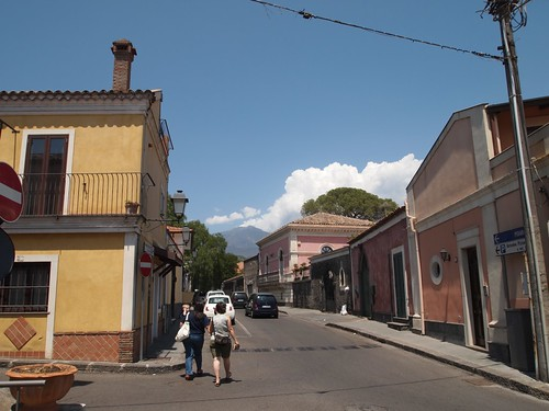 Street in Nicolosi with Etna in background