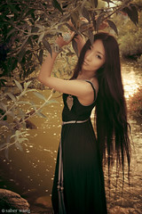 Alli. (Saber Wang) Tags: park portrait black girl beautiful beauty female asian model outdoor chinese longhair naturallight blackhair gardengrove blackdress 2011 allijiang maxidress saberwang saberwangphotography