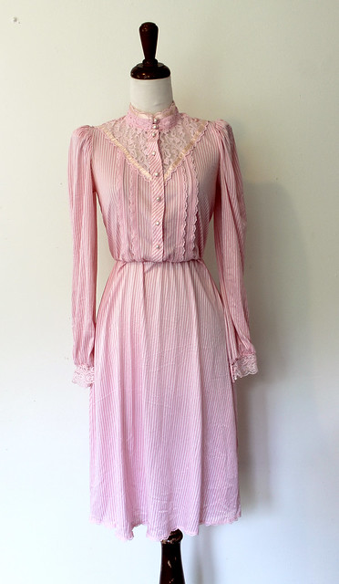 Lace Yoke Pink Dress, vintage 1980s