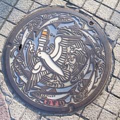 銚子市マンホール。イワシとカモメと灯台と。いつか風車(風力発電の)も加えて欲しいな。