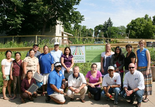 USDA staff and gardeners gathered to dedicate the community garden at Common Bond Communities Torre De San Miguel homes in St. Paul, Minn.