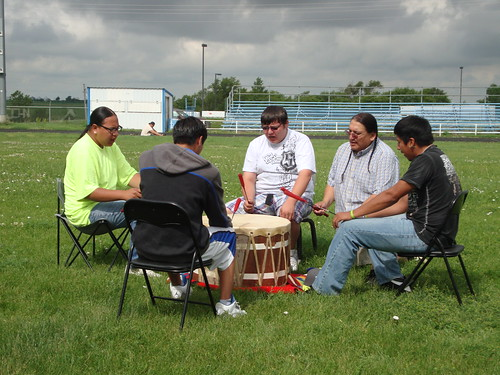 Cheyenne Eagle Butte School Drum Circle made up of youth who sing traditional Lakota songs.