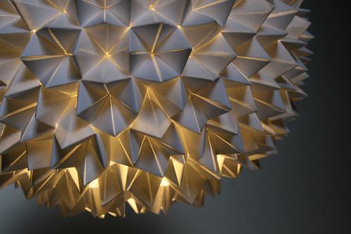folded paper pendant light