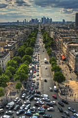 Le Trafic (AJ Brustein) Tags: road street sky paris france car clouds canon skyscape aj crazy europe long downtown european chaos view traffic perspective arc ladefense straight arcdetriomphe trafficjam hdr wagram trafic cityline brustein 50d