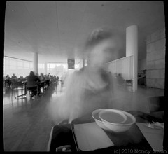 Lunch at the Getty Center, LA (squaremeals) Tags: california bw 6x6 museum mediumformat restaurant losangeles pinhole squareformat getty squaremeals