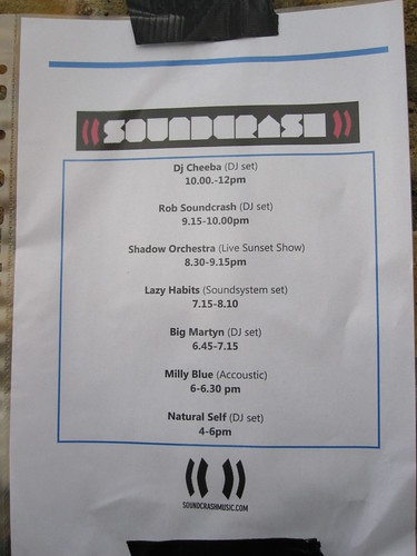 Soundcrash roof party 2 running order