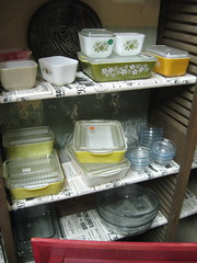 Pyrex wall display (elevator_lady) Tags: blue yellow set vintage dish retro cups custard refrigerator pyrex sapphire fireking springblossom fridgies