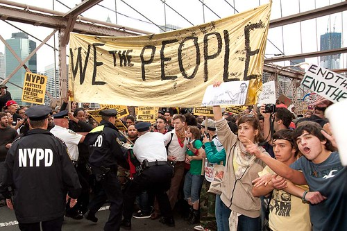 Occupy Wall Street, October 1st, Brooklyn Bridge. (Photo: Adrian Kinloch)