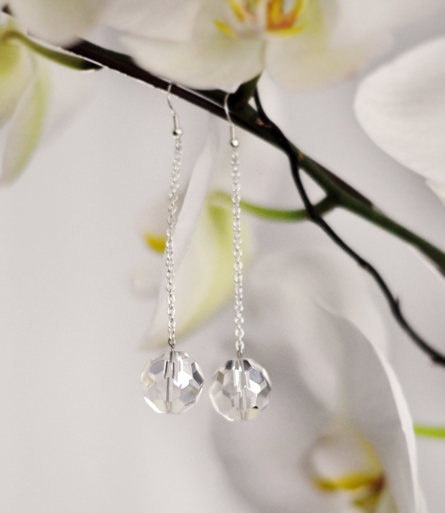 Crystal Ball Drop Earrings DIY + orchids