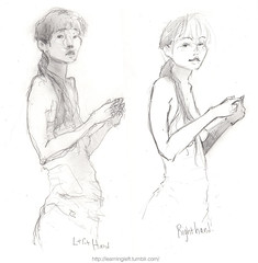 Side by side: Girl in tank top (RadioSignals) Tags: girl sketch drawing brain lefthanded hemispheres ambidextrous