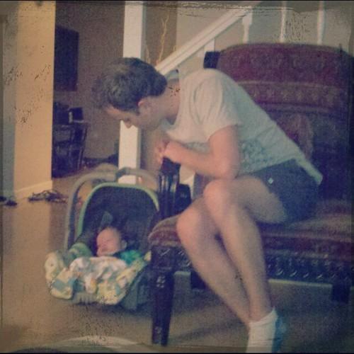 Matthew adoring the baby