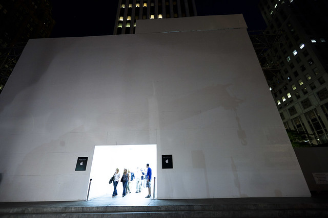 Front of Apple Store boxed, Manhattan