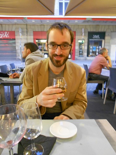 Nate Drinking Armagnac in Dijon