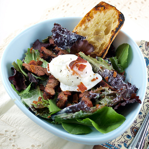 Steak Salad with Poached Egg and Creamy Chive Dressing