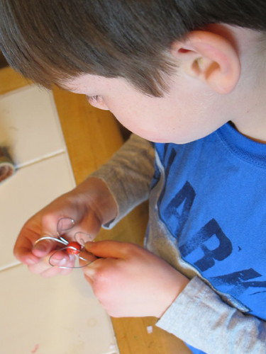 S making a dragonfly pin for Grandma#3