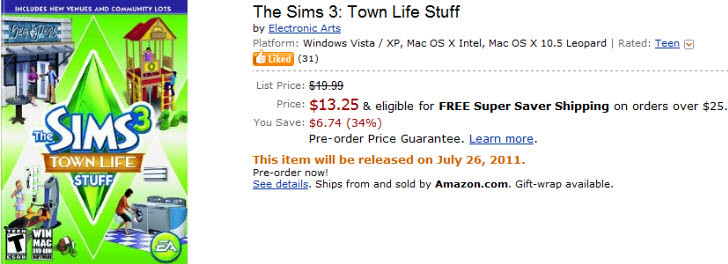 The Sims 3 Town Life Stuff Pre-Order