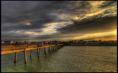Deal Pier (J.W.Turner) Tags: ocean houses sunset sea streets clouds canon pier kent tokina deal hdr 1224 500d tonemapped